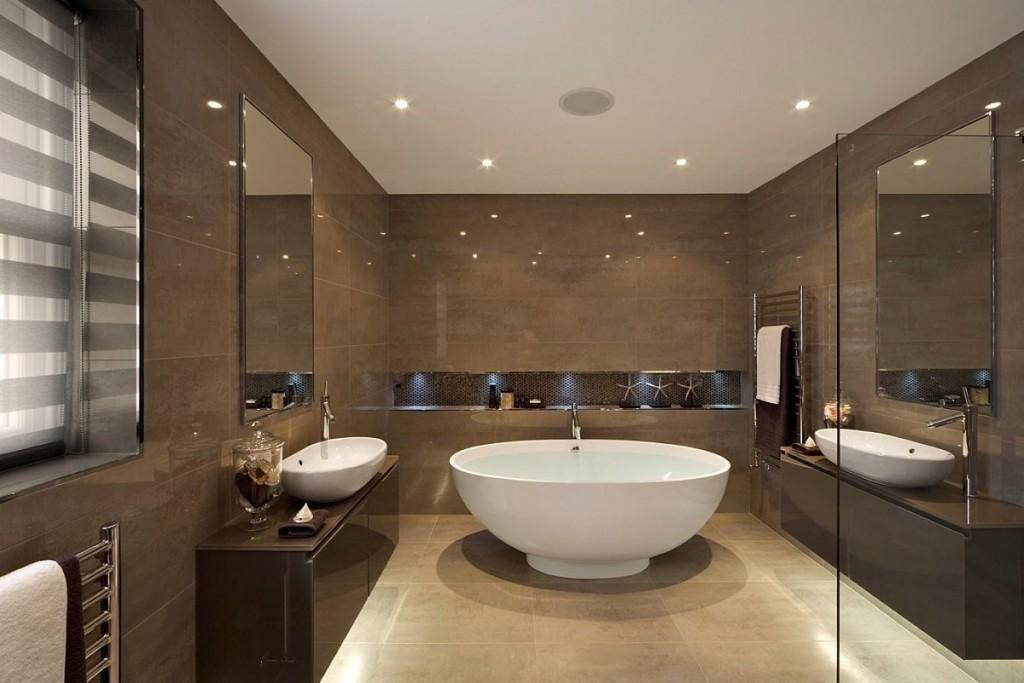 Отделка стен ванной комнаты коричневой плиткой