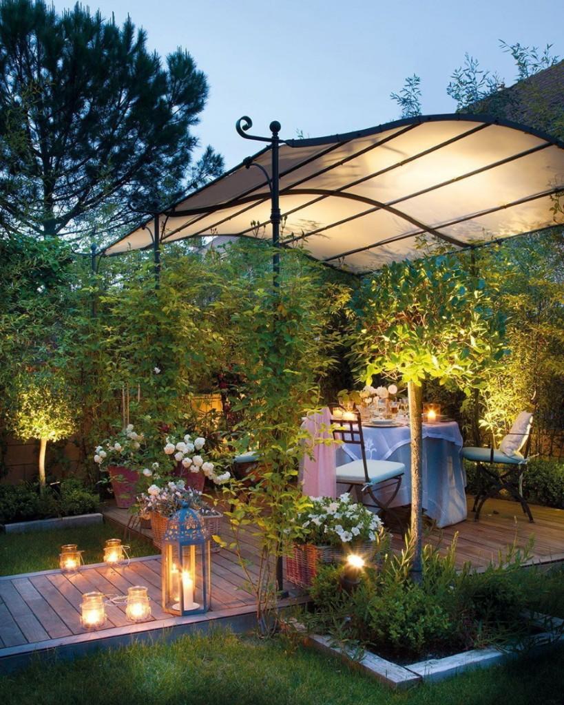 Романтическая атмосфера в открытой садовой беседке