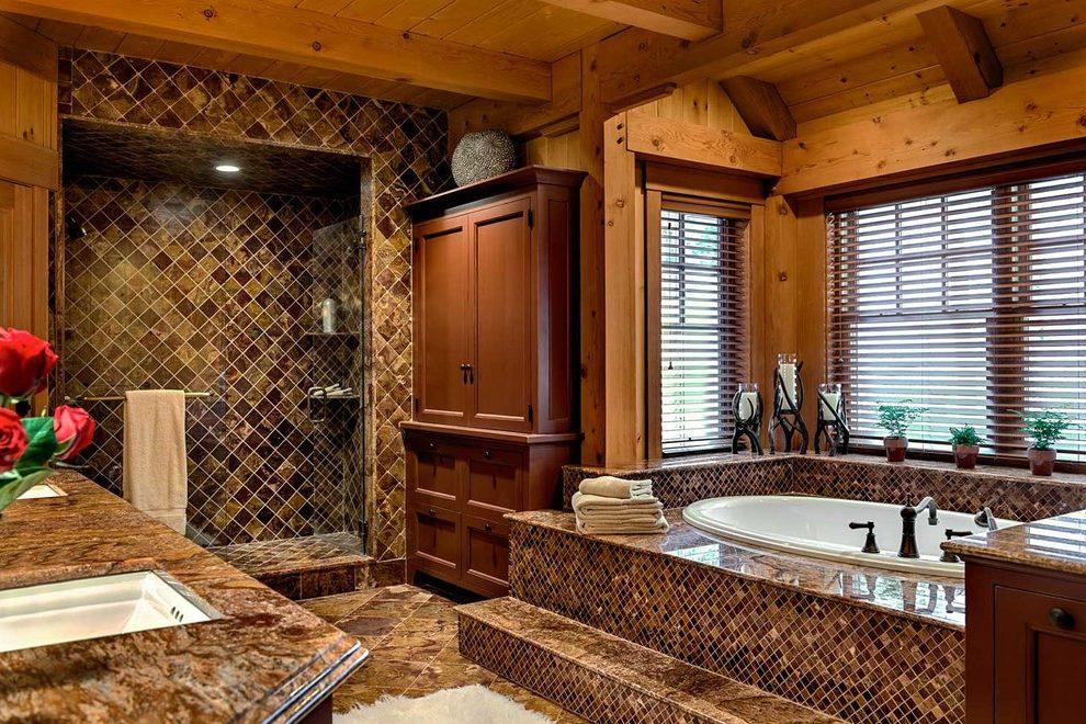 Комбинированная отделка ванной в коричневых тонах