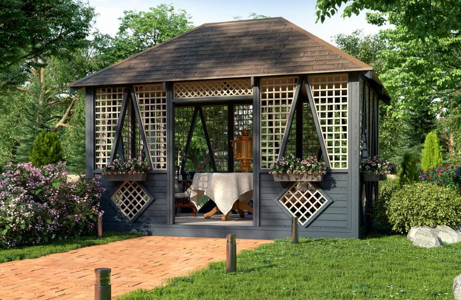 Красивый декор садовой беседки из дерева