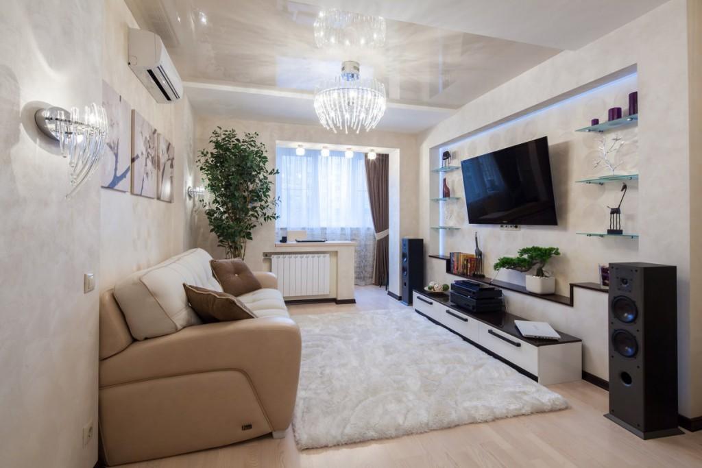 Фото гостиной комнаты в панельном доме П46