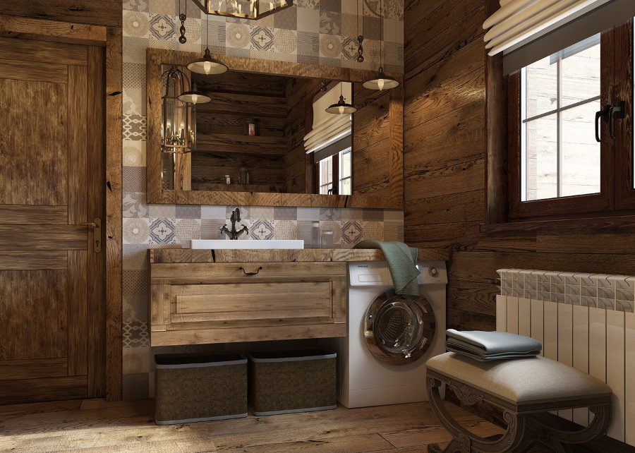 Оформление ламинатом ванной в деревенском стиле