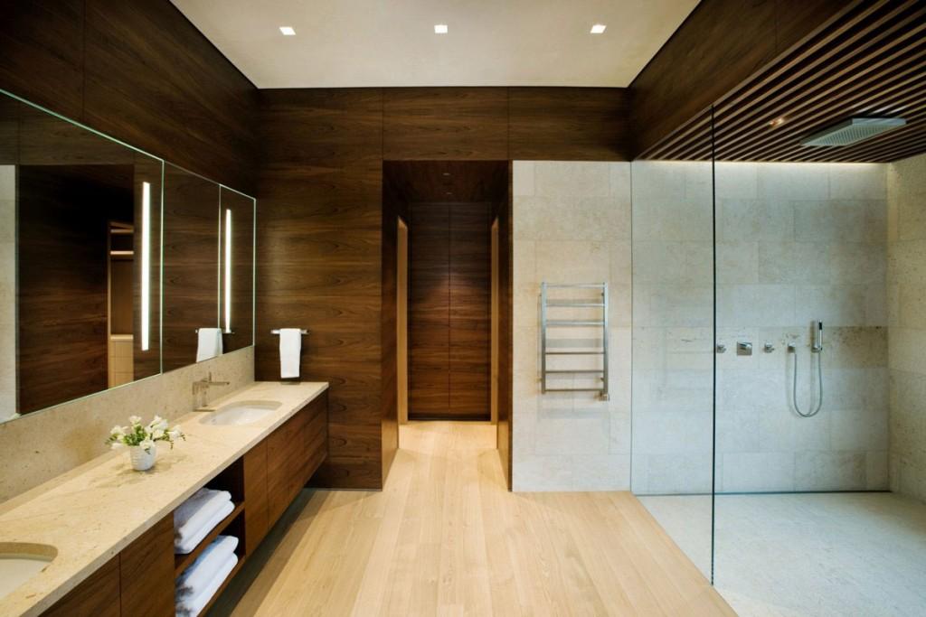 Контрастное оформление ламинатом ванной в стиле минимализма