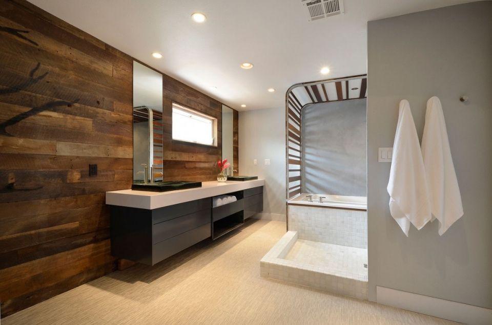 Ламинированные панели в ванной современного стиля