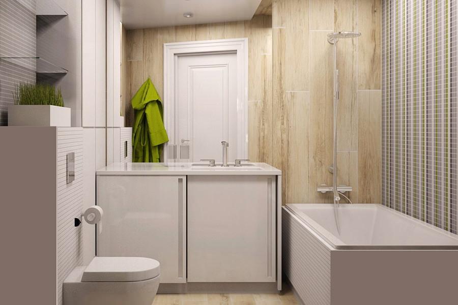 Светлая тумба под зеркалом в ванной