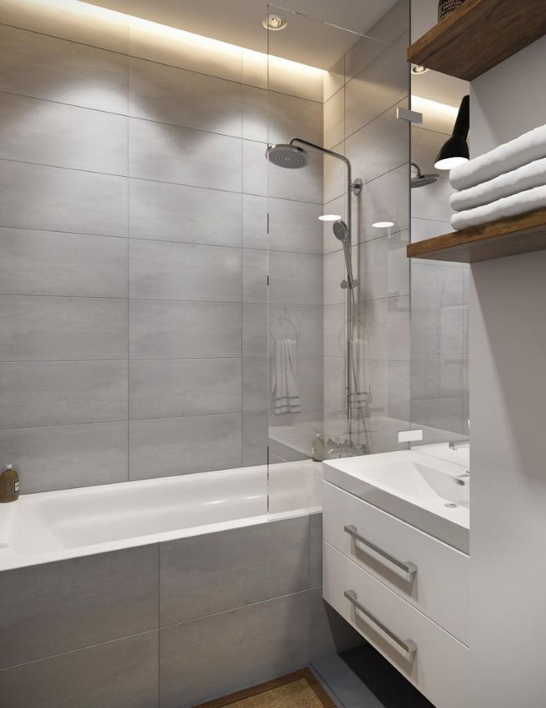 Освещение в небольшой ванной стиля минимализма
