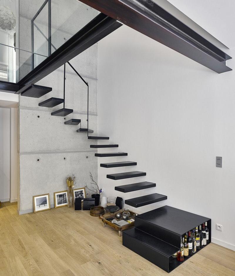 Угловая лестница без перил в стиле модерн