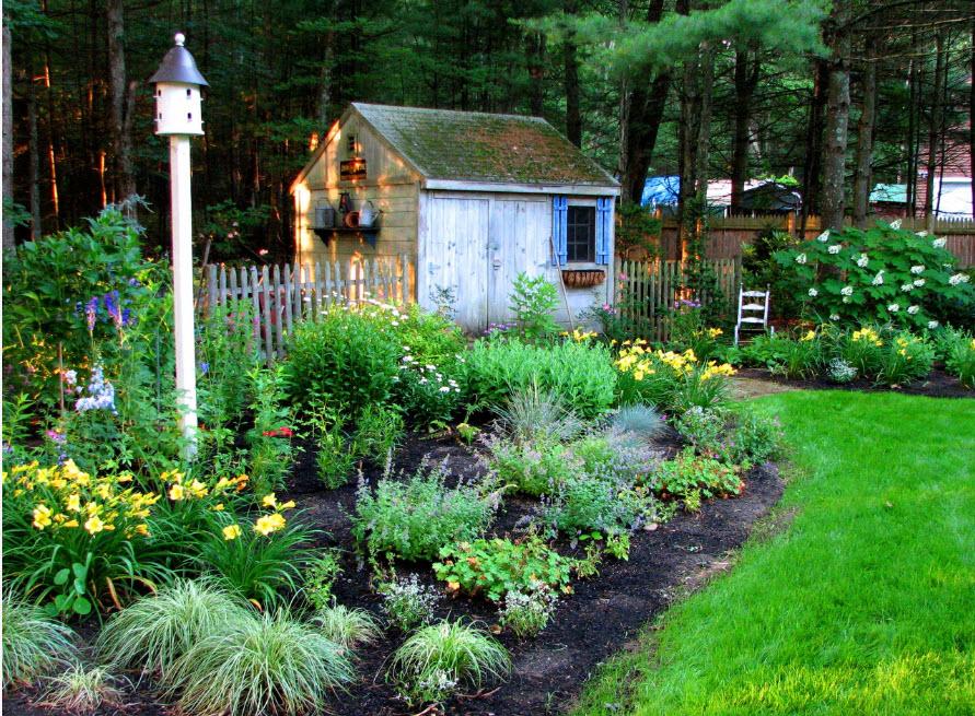 Клумба нерегулярного типа на садовом участке