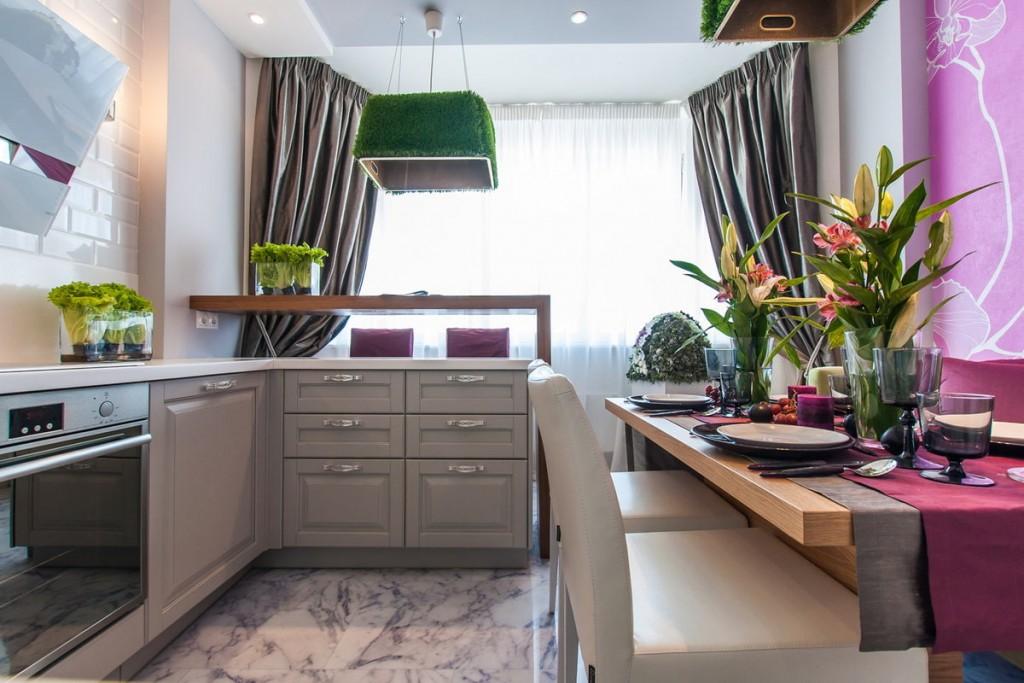 Дизайн кухни после объединения с балконом