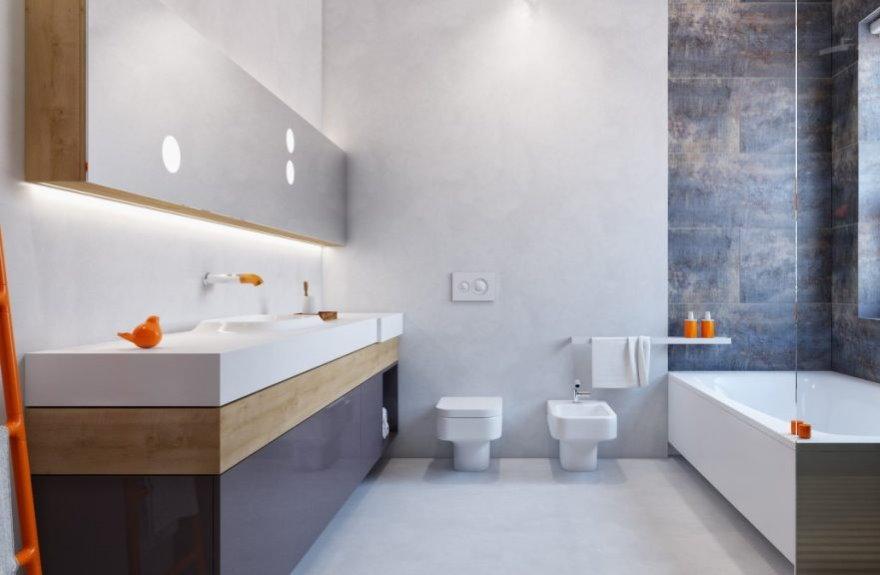 Оранжевый декор в ванной минималистического стиля