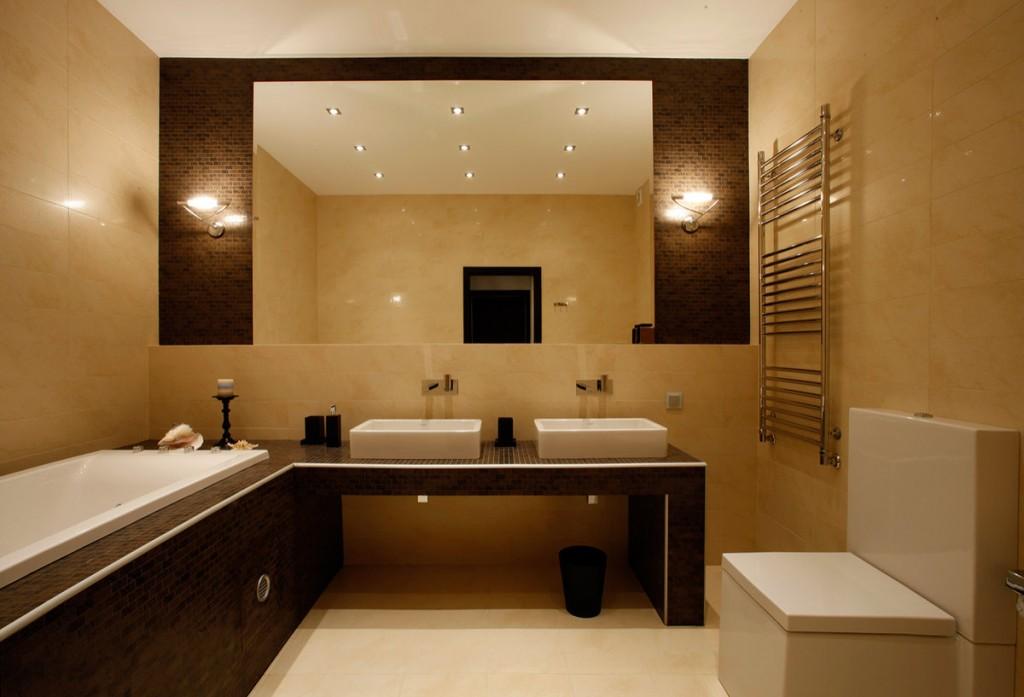 Пример освещения ванной комнаты в стиле минимализма