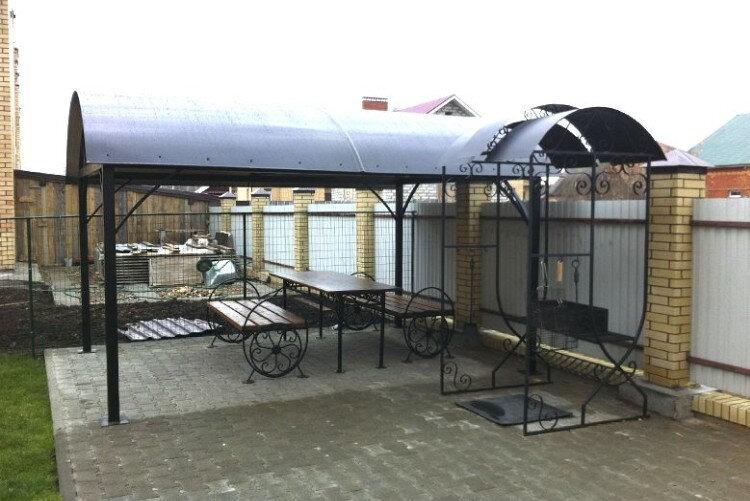 Садовый мангал с крышей из профильной трубы