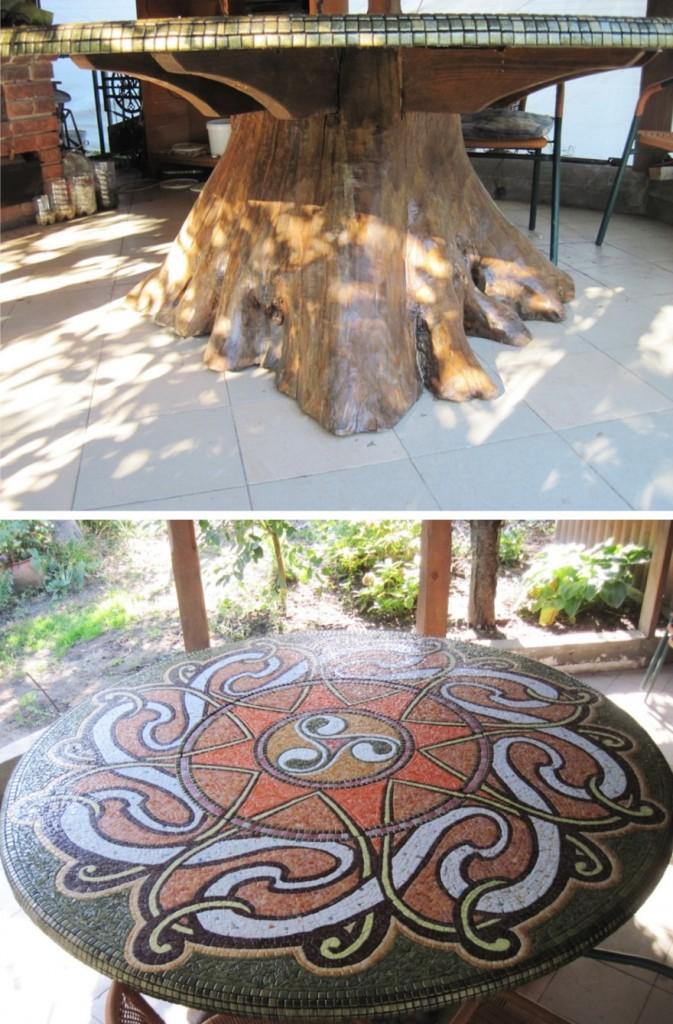 Садовый стол из пня для летней беседки