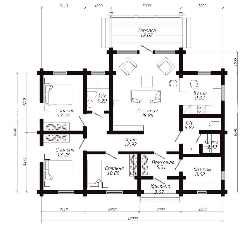 План деревянного дома с двумя санузлами