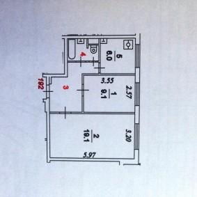 Вариант планировочного решения для 2 комнатной квартиры