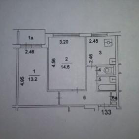План двухкомнатной квартиры до перепланировки