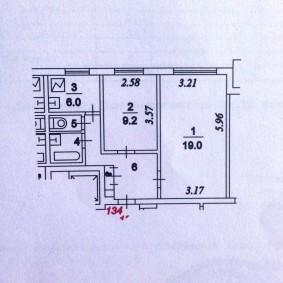 Планировка двухкомнатной квартиры в старом доме