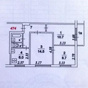 Чертеж 3 комнатной квартиры с раздельным санузлом
