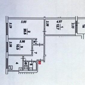 Планировка типовой трехкомнатной квартиры в панельном доме
