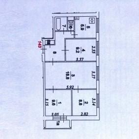 Планировка четырехкомнатной квартиры в доме 49-Д