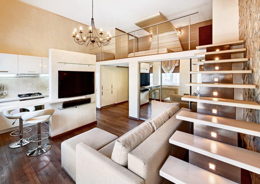 Подсветка лестницы в двухэтажной квартире современного стиля