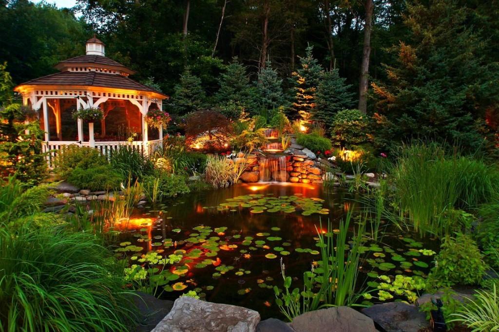 Садовый водоем с красивой подсветкой