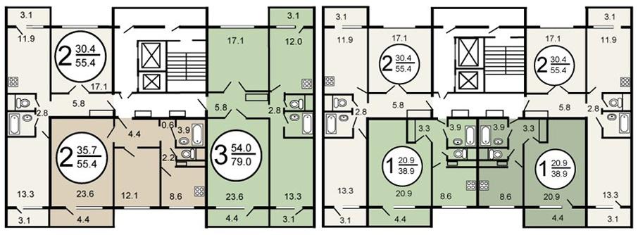 План этажа в доме серии п 46 с расположением квартир