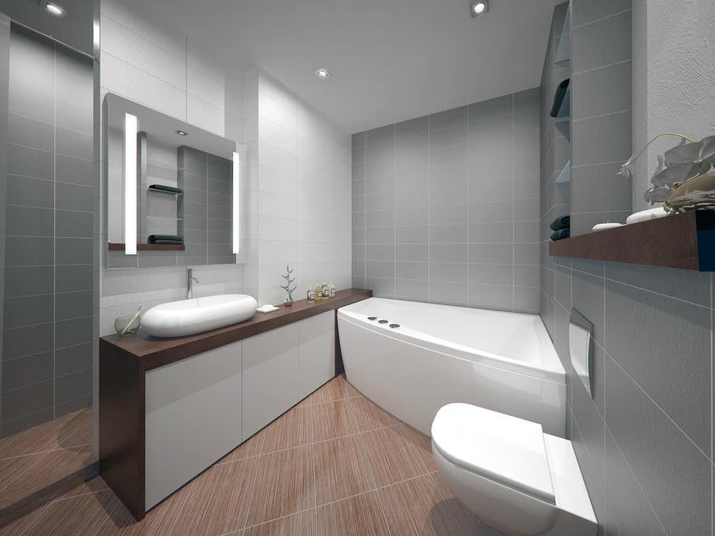 Акриловая ванна в углу совмещенного санузла