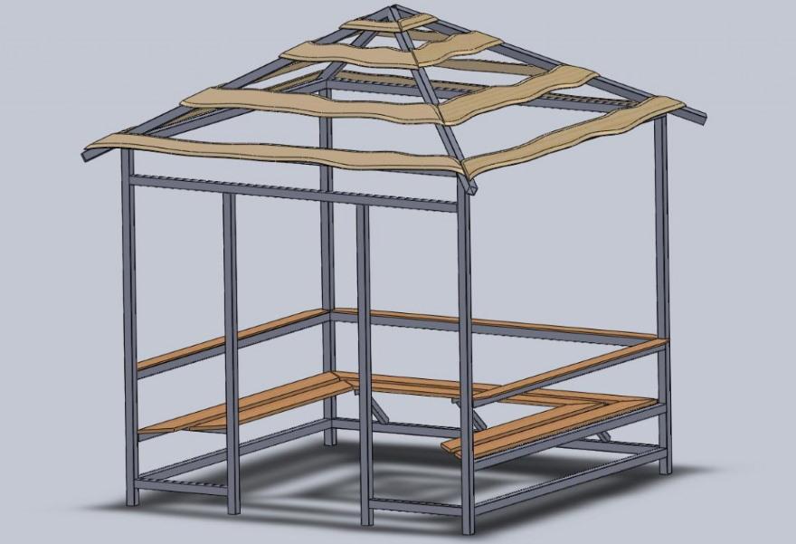 3D-проект квадратной беседки с четырехскатной крышей