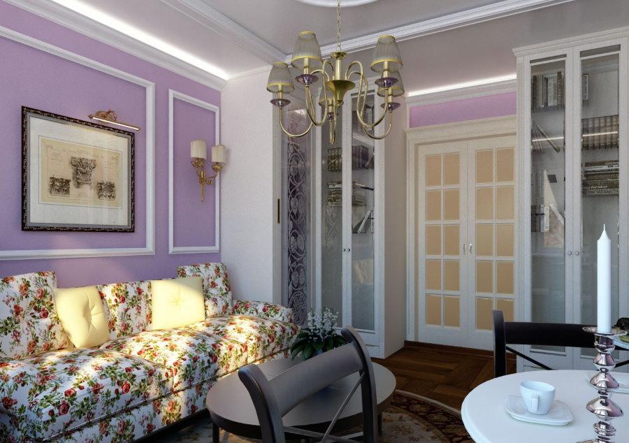 Светло-фиолетовые обои в гостиной стиля прованс