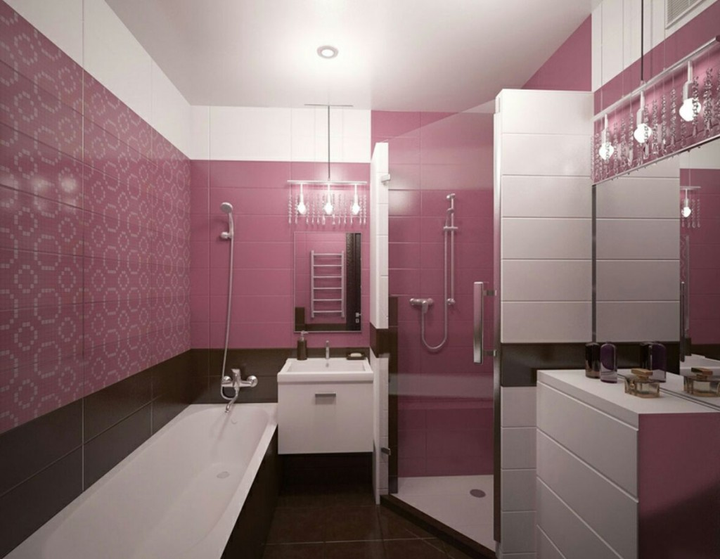 Розово-коричневая ванная в стиле модерн
