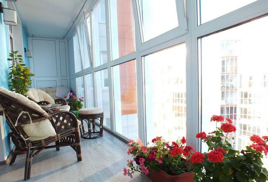 Контейнеры с розами на лоджии с панорамными окнами