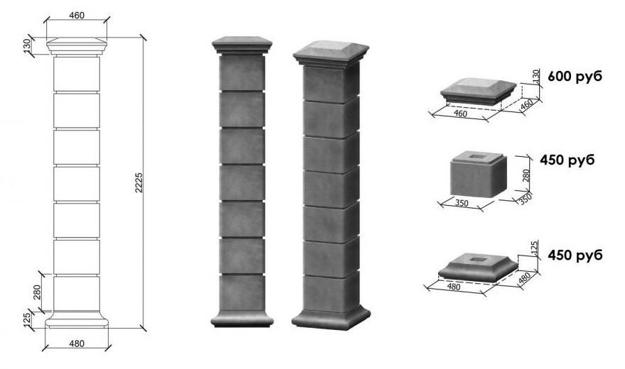 Схема сборки бетонного столба с размерами блоков