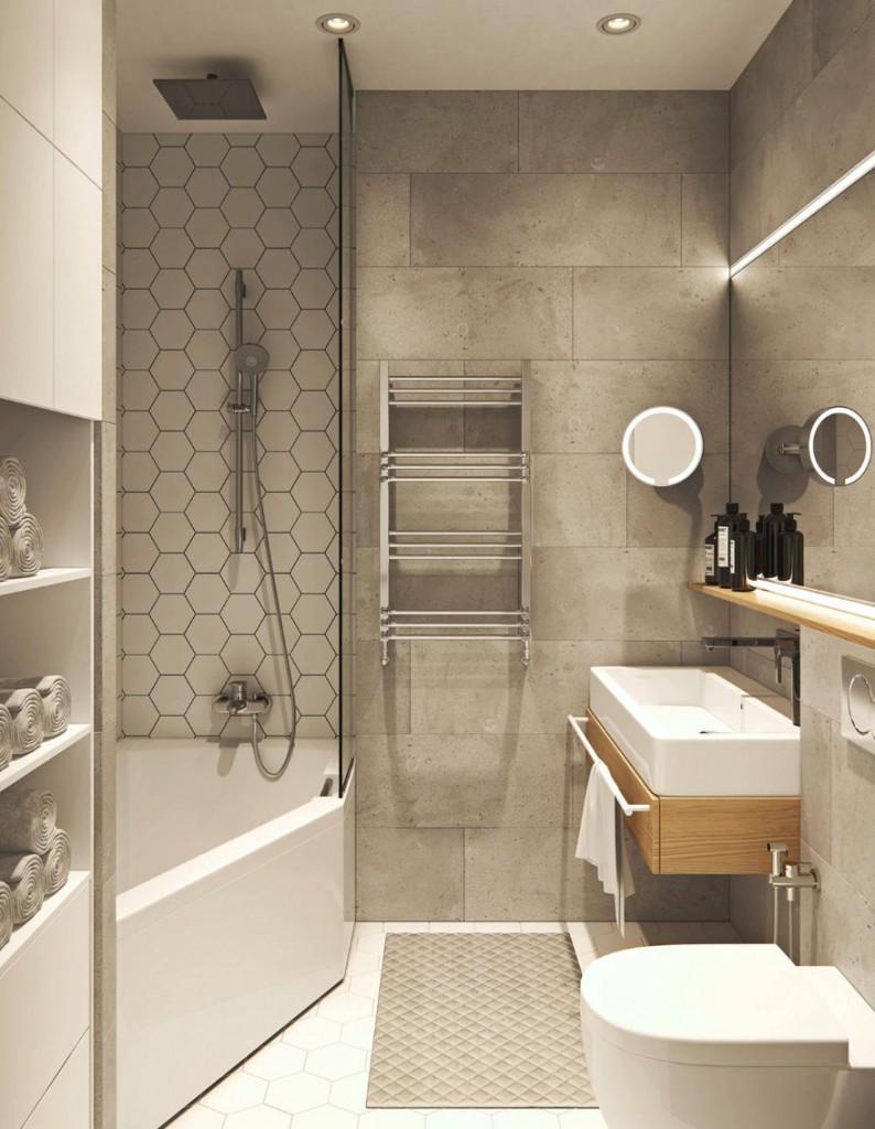 Компактная сантехника в минималистической ванной