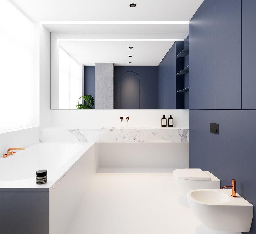 Встроенные шкафы с синими фасадами в совмещенном санузле