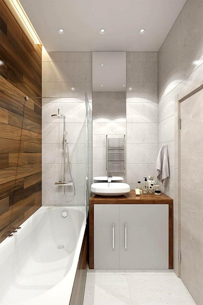 Узкая ванная в стиле минимализма с деревянными акцентами