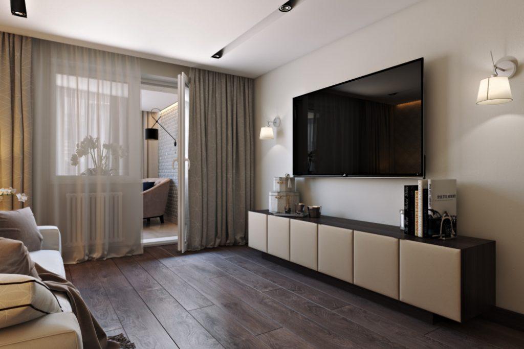 Ламинированный пол в гостиной комнате с телевизором