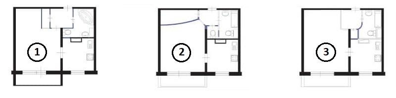 Перепланировка однокомнатной квартиры в доме П 46 с размерами