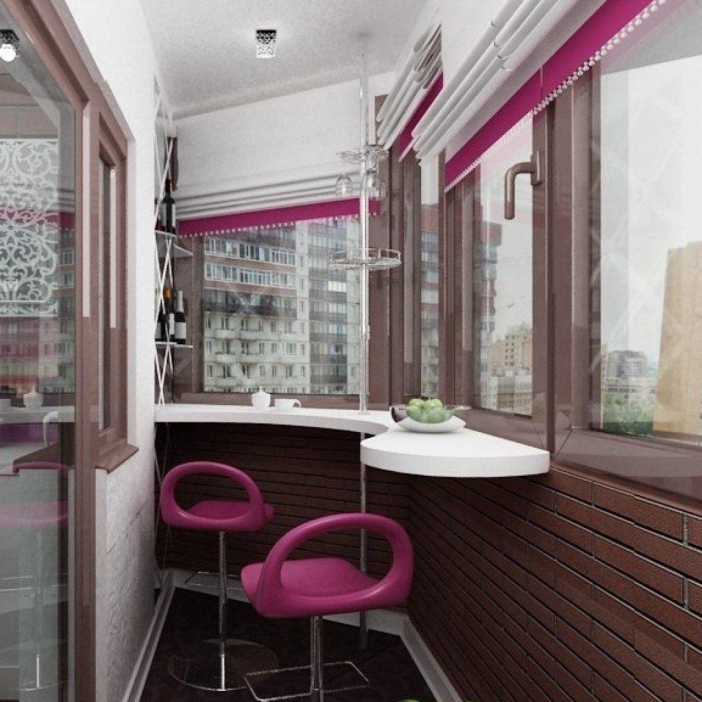 Угловая барная стойка на узком балконе