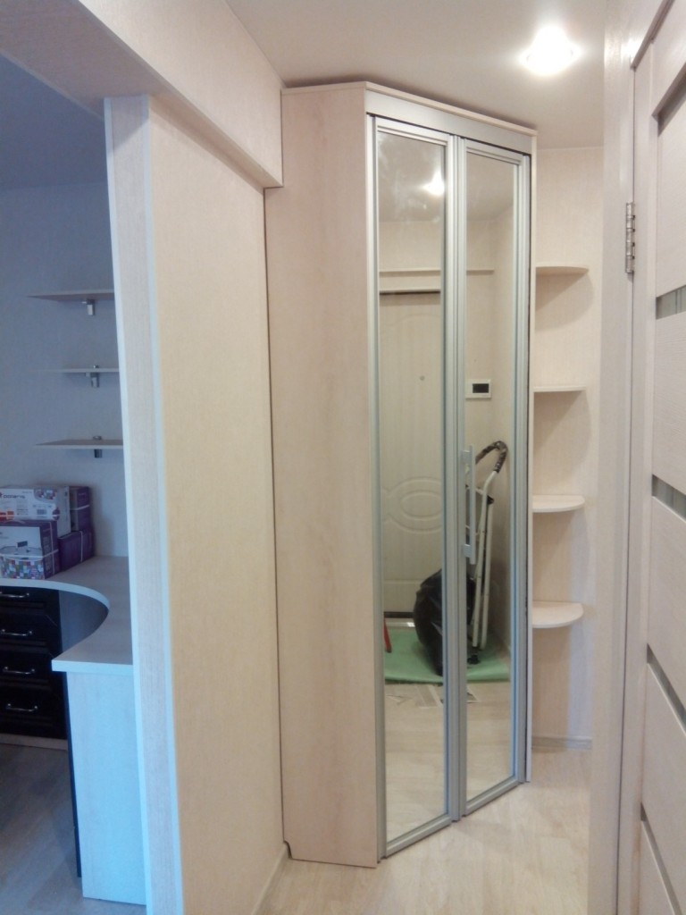 Двустворчатый шкаф в углу прихожей небольшой ширины