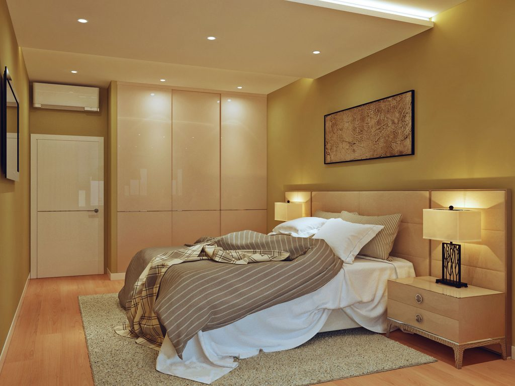 Освещение в спальной комнате двухкомнатной квартиры