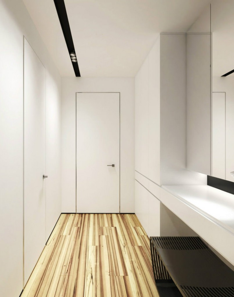 Интерьер белого коридора в стиле минимализма