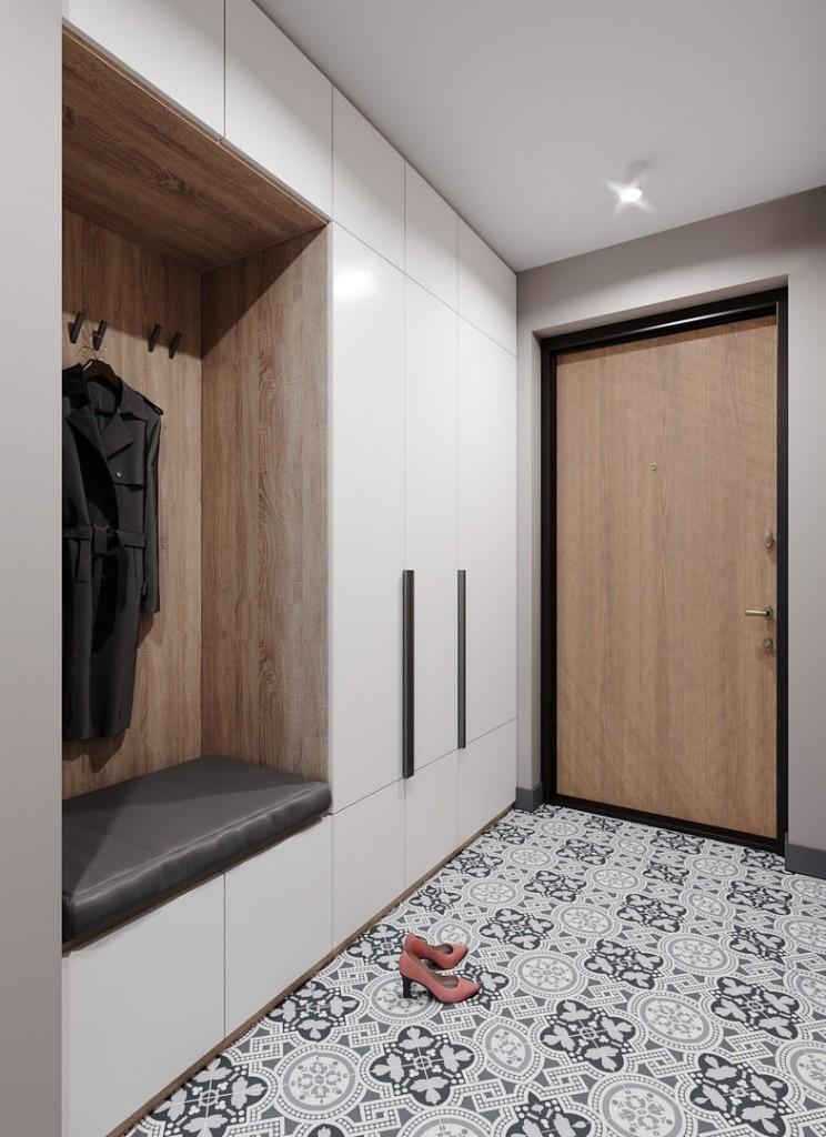 Встроенная мебель с гладкими фасадами вдоль стены коридора
