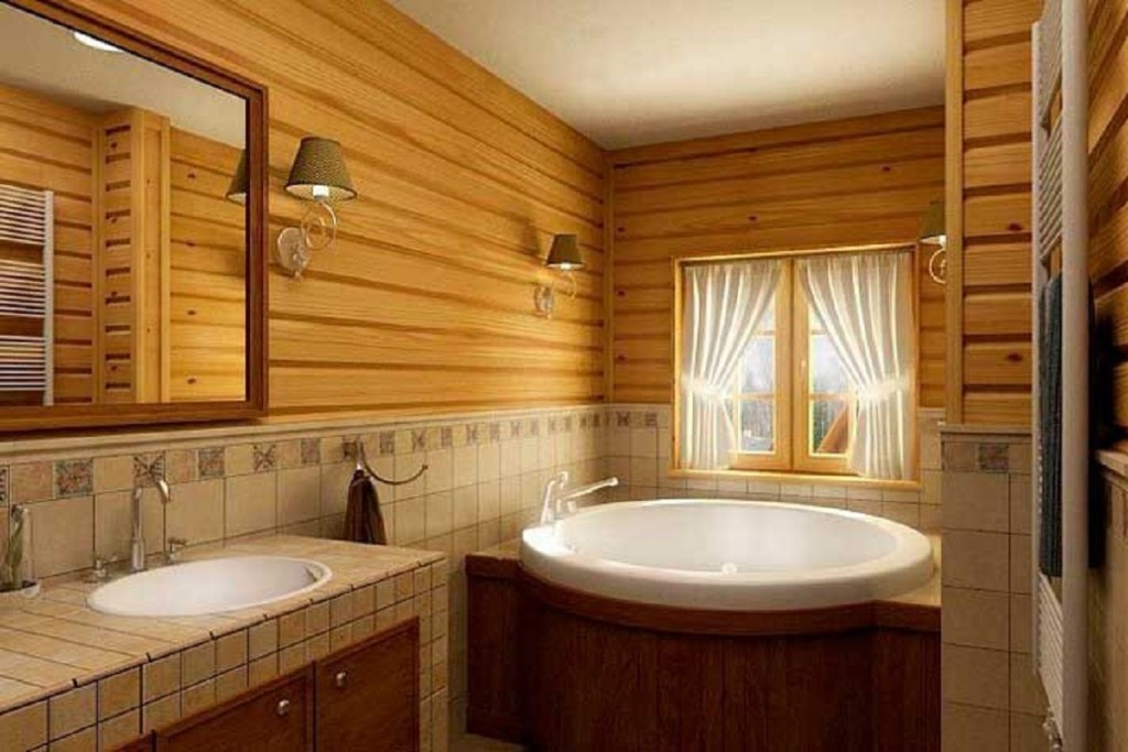 Комбинированная отделка стен в ванной деревянного дома