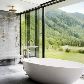 Панорамный вид из окна в ванной комнате
