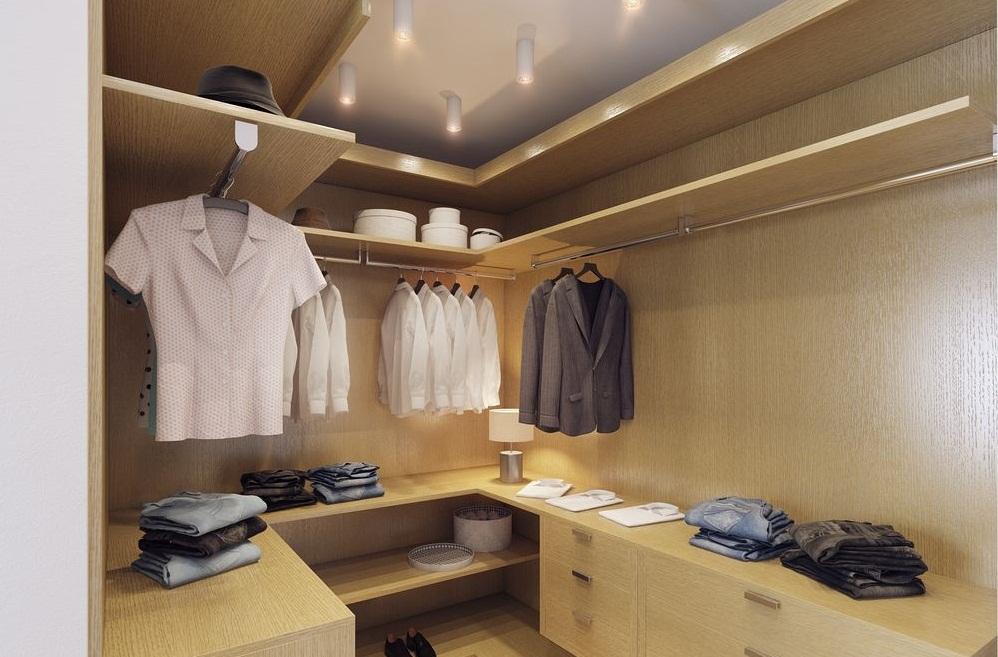 Освещение гардеробной со встроенной мебелью