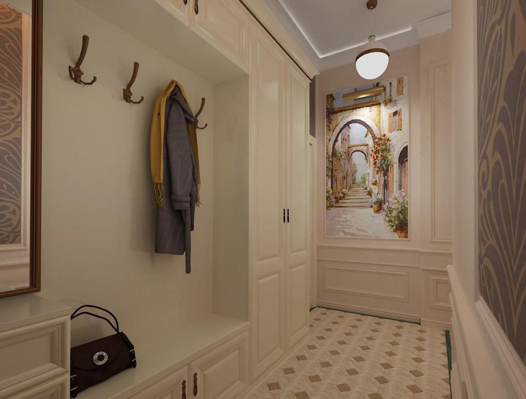 Крючки для верхней одежды на стене коридора