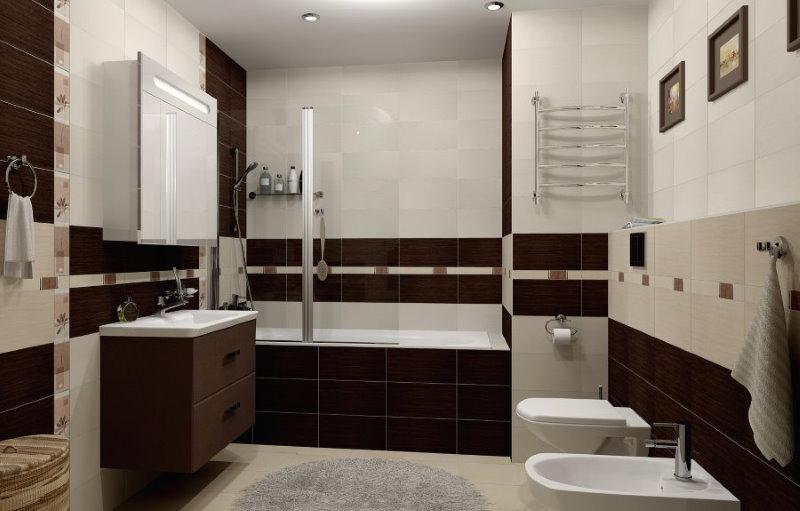Освещение ванной комнаты с коричневыми акцентами