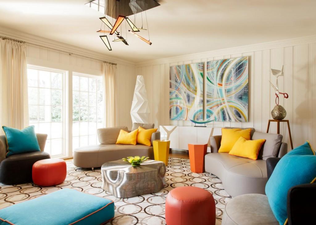 Разные обои в гостиной авангардной стилистики