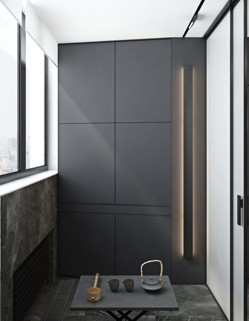 Интерьер балкона в стиле минимализма с отоплением